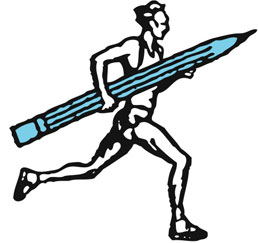 running with a pencil